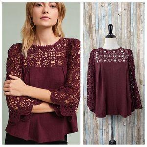 Anthropologie M Eri Ali Marigold Crochet Lace Top